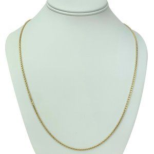 """14k Gold Solid 1.5mm Diamond Cut Rope Necklace 24"""""""